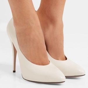 NEW Gucci Off White Elaisa Leather Pumps